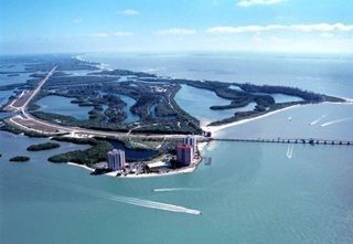 Ariel View of Condo & Lover's Key Park it is surrounded by water and sandy beach