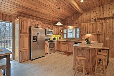 Inside, you'll find all of the comforts of home like a fully equipped kitchen!