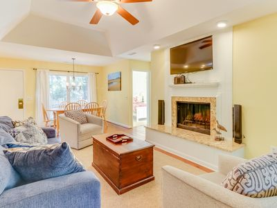 Photo for NEW LISTING! Comfy house w/shared pool, tennis & screened porch - beach nearby
