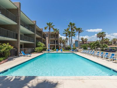 Tranquil Padre Oasis.  Unit 310 overlooks the  pool shaded by the palm trees.