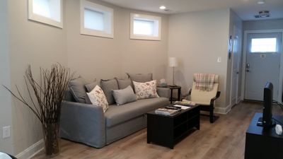 Living room with full-size pull out sofa sleeper