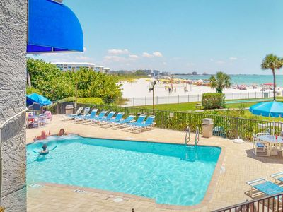 Photo for Direct St Pete Beach Beachfront Condo. Overlooking the Heated Pool. Fantastic Views!!