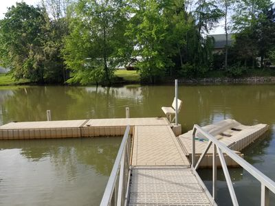 Floating dock can handle two boats and a waverunner