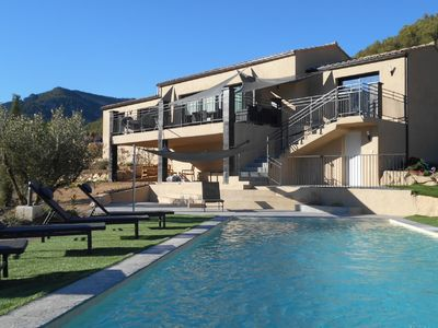 Photo for Modern villa with private swimming pool in the middle of the hills in Southern Drôme Provençale