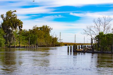 Drive your boat from the private launch to the best fishing camp in Louisiana.