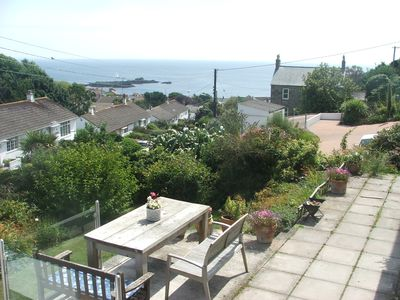 The terrace and view out to sea
