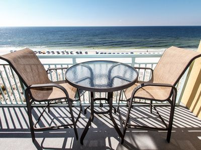 Southern view-Gulf of Mexico is truly beautiful!! - The private balcony, accessible from the living room of this unit, overlooks the courtyard and the beach boardwalk.