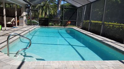Private, oversize solar heated pool