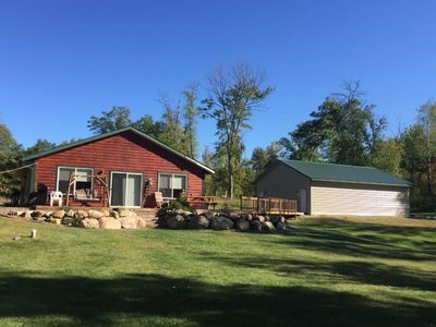 Photo for Beautiful spacious 3 bedroom cabin and yard on quiet clear lake