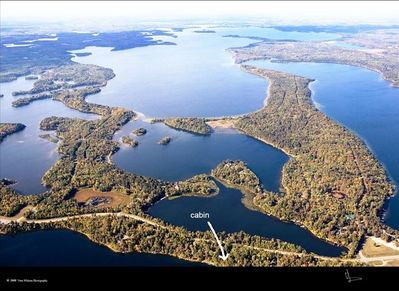 Aerial View Looking West Over Part of Whitefish Chain. Ox Lake in Foreground