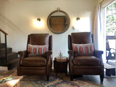 Leather recliners to lounge in after a long day skiing or fishing!