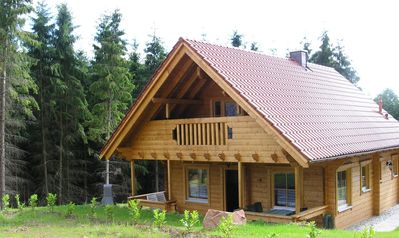 """Photo for Finnish LUXURY log cabin (house 2) in the nature park """"Pfälzer Wald"""" (500 meters high)"""