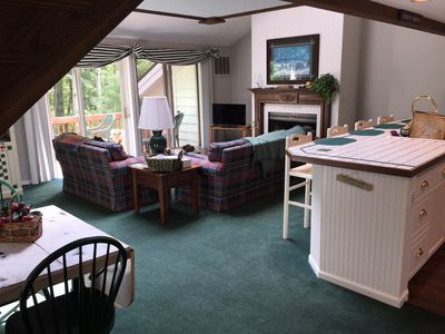 Great room view as you enter; kitchen table on left  expands to seat 8