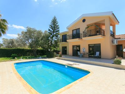 Photo for Villa Halima Alexandros: Large Private Pool, Walk to Beach, Sea Views, A/C, WiFi, Eco-Friendly
