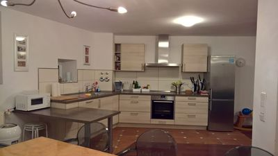 You can see the fully equipped kitchen area