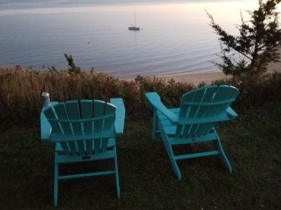 Photo for 5 Bedroom Beachfront Cottage Panoramic Bluff Views of Wellfleet Harbour