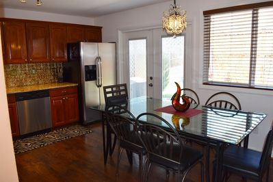 Large spacious kitchen leading to the private patio