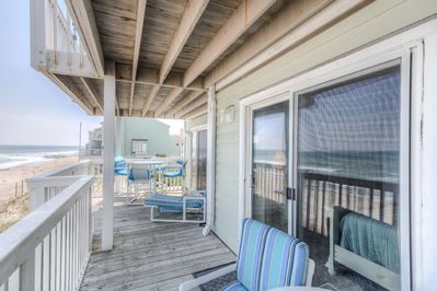 Oceanfront deck off the living room and master
