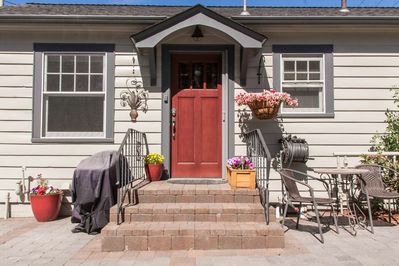 Home sweet home. Private entrance with your own grill.  Patio looks out onto Drake Park with the Deschutes River running past.