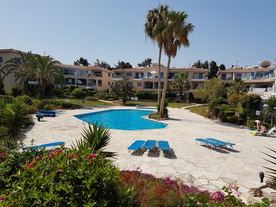 Communal pools and beautiful gardens