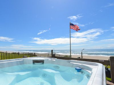 Photo for Oceanfront w/ Hot Tub and  Private Steps to the Sand. Open Sept 28-30.