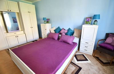Master bedroom. King size bed and large double wardrobes.
