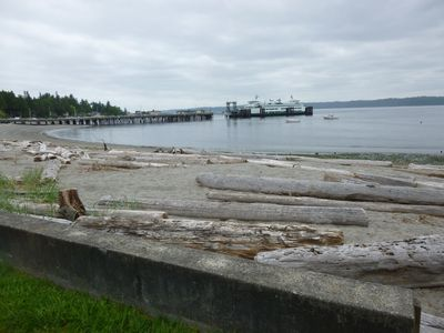 The front yard is a relaxing sandy beach in the Fauntleroy Cove