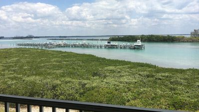 Beautiful view from porch where you can see dolphins swimming by!