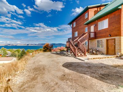 Photo for NEW LISTING! Dog-friendly, rustic cabin overlooking Bear Lake w/pool & hot tub