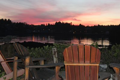 Fire pit sunset view of the inlet