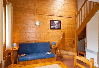 Welcome to our cozy and warm ski-in/ski-out chalet in La Plagne Soleil!