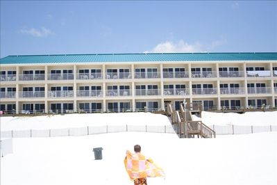 view of the condo building from the beach.....no roads to cross or funny angles!