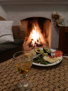 Fire and food in winter.