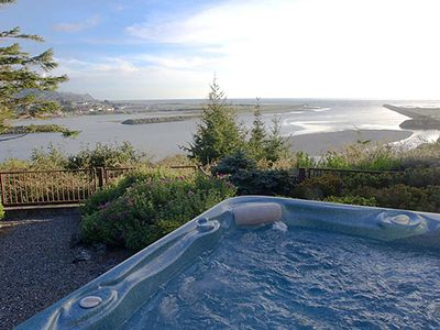 Confluence of Rogue River and Pacific Ocean as seen from Pacific Sunset hot tub