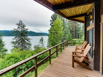 Photo for Coeur d'Alene Lake waterfront cabin with private dock and beach!