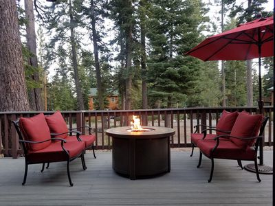 Gather round the fire pit for cocktails on a cool night.  Propane.