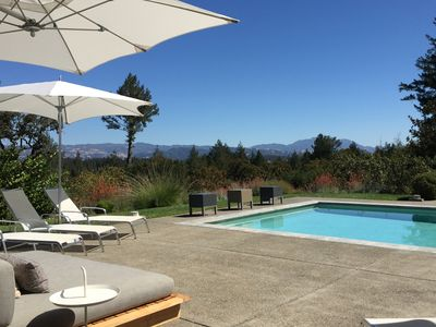 View over Dry Creek Valley and Mt St. Helena from the pool