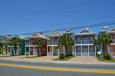 Charming and colorful cottages, ours is one of the 3-story ones on the 2nd row