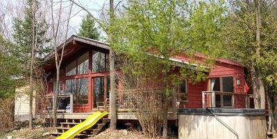 House, front deck and hottub