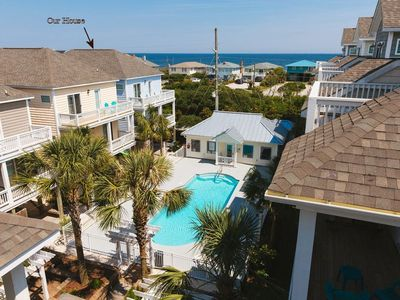 Our house, the pool and the ocean views!