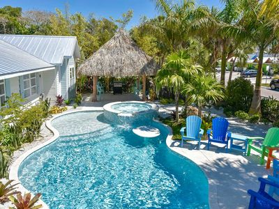 Photo for AMAZING HOME ON SIESTA KEY - Sleeps 24+ - Heated Private Pool w/ Slide, Spa, Gratto, Tiki Hut, Walk to Beach and Village. Property Manager Program Included.