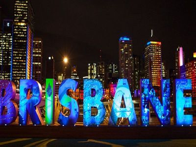 Brisbane sign from South Bank 6km away