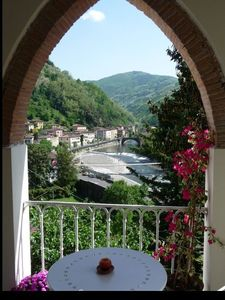 View from one of the 3 terracotta arches of the loggia verandah