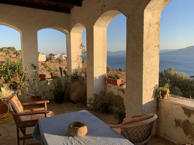 Photo for Large house, magnificent sea view and Peloponnes, 15min walk from a beautiful cove