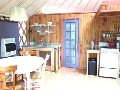 Photo for Relax in Yurt Circular Comfort, nestled in the Woods, deck overlooking Paradise