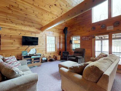 Photo for Dog-friendly, isolated lakefront log cabin w/ rustic atmosphere, free WiFi