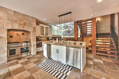 Gourmet Chef's Kitchen with Viking Gas Stove and Double Ovens