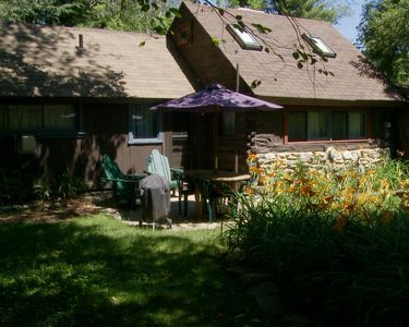 The Cole Cabin (Pond side) showing the patio.