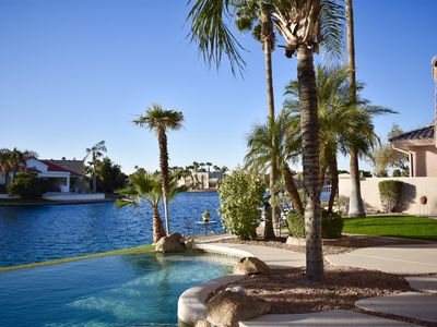 Photo for Gorgeous Val Vista Lakes Waterfront Resort Style Home in a Gated Community
