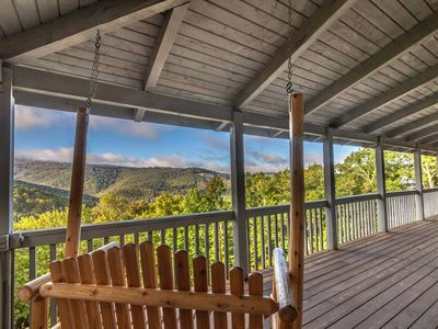 Photo for 4BR/4BA Beautiful Log Cabin with a Huge View, Log Furniture, Fire Pit, Fireplace, Wrap Around Porch